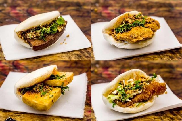 Слева направо и сверху вниз: бао со свининой, курицей, сыром тофу и рыбой. Фото: BoaHaus